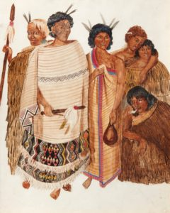 Warrior Chieftains of New Zealand a watercolour by Joseph Merrett Jenner featuring chiefs Kawiti