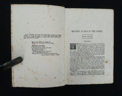 early undated printing of Ben Hur by Lew Wallace published by Charles H. Kelly first page of Chapter one