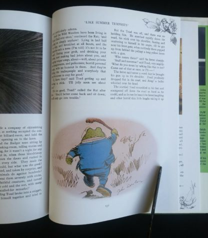 illustration of Mr. Toad running on page 131 in a 1982 copy of The Wind in the Willows published by by Victoria House Publishing Limited
