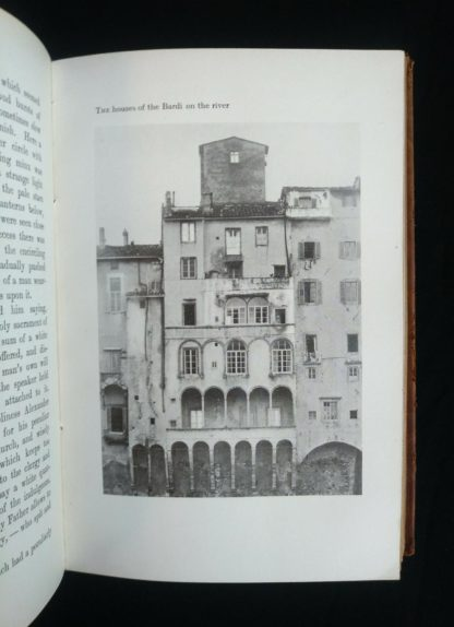 photograph of The houses of the Bardi on the river in a 1908 Leather bound RAMOLA by George Eliot published by McClurg & Co