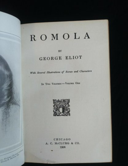 title page up close in a 1908 Leather bound RAMOLA by George Eliot published by McClurg & Co