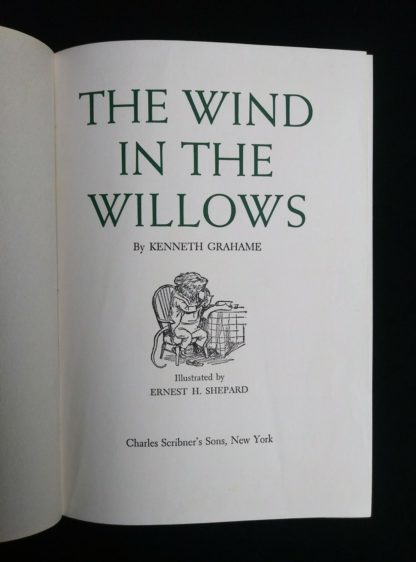 title page up close in a 1954 copy of The Wind in the Willows illustrated by Ernest Shepard