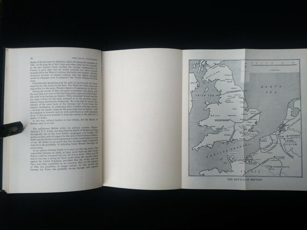 1956 first edition copy of Six decisive battles of the Second World War from the viewpoint of the vanquished - pull out map adjacent to page 22
