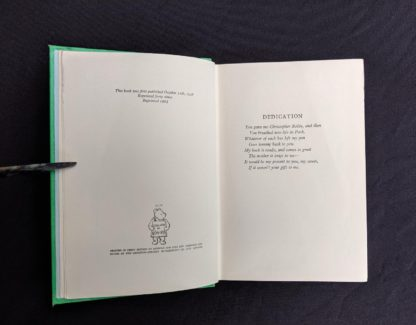 copyright and dedication pages in a 1963 copy The House at Pooh Corner by A. A. Milne