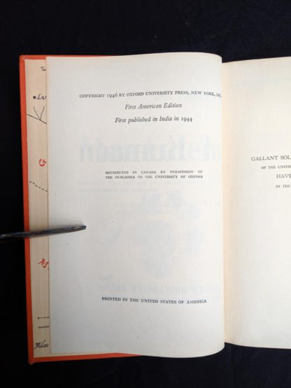 copyright page in a 1946 First American Edition copy of MAN-EATERS of Kumaon by Jim Corbett