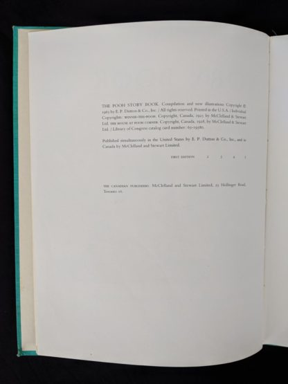 copyright page in a 1965 copy of The Pooh Story Book stated 1st Canadian Edition