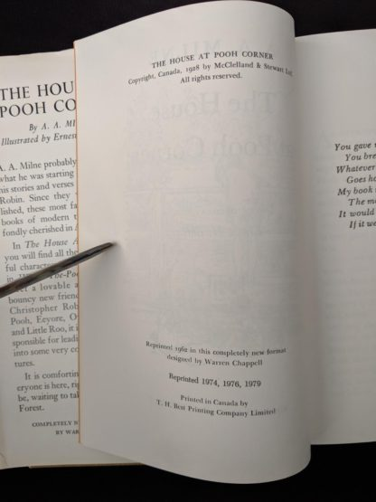 copyright page inside a 1979 copy of The House At Pooh Corner published in Canada by McClelland & Stewart Ltd