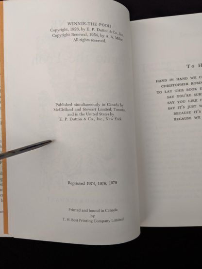 copyright page inside a 1979 copy of Winnie-the-Pooh published in Canada by McClelland & Stewart Ltd