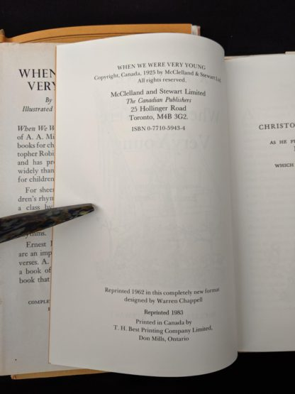 copyright page inside a 1983 copy of When We Were Very Young published in Canada by McClelland & Stewart Ltd