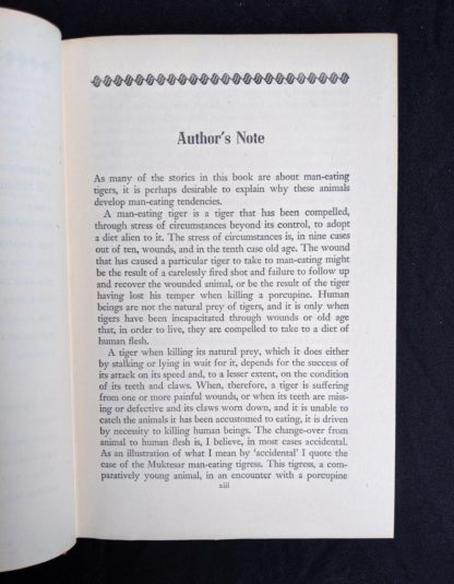 first page of Authors note in a 1946 First American Edition of MAN-EATERS of Kumaon by Jim Corbett