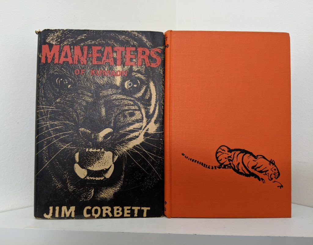front cover and dustjacket of a 1946 First American Edition copy of MAN-EATERS of Kumaon by Jim Corbett