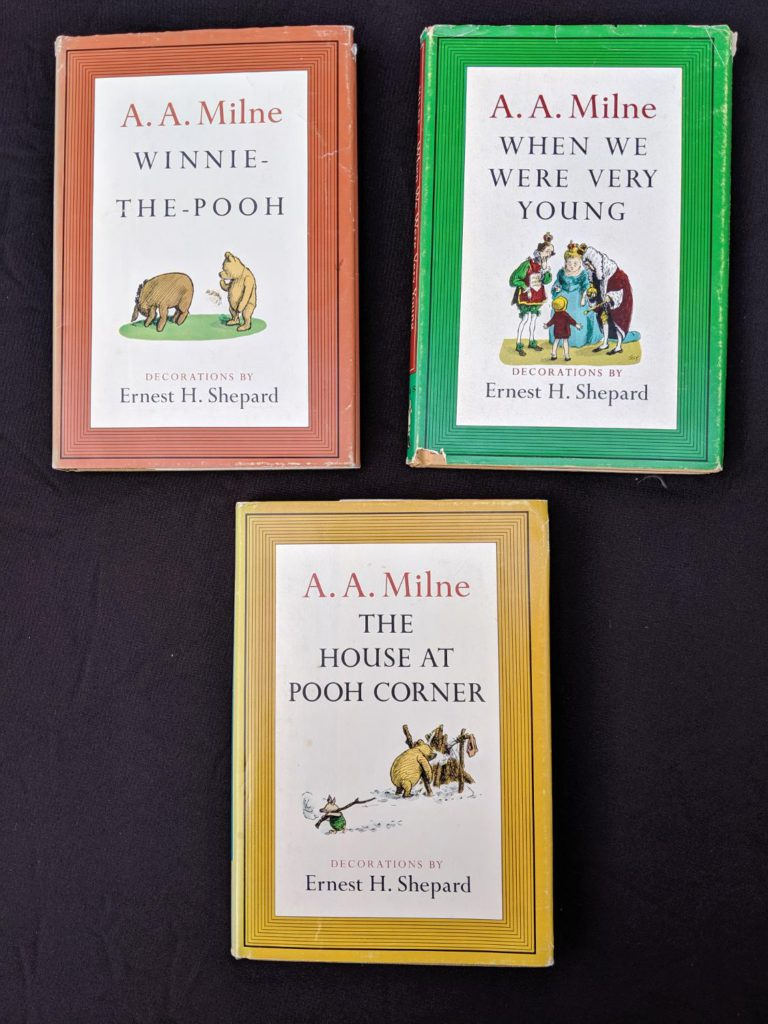 front covers of dustjackets on a Set of 3 Winnie-the-Pooh A. A. Milne books 1979 - 83