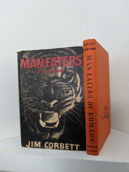 front dustjacket and spine view of a 1946 First American Edition of MAN-EATERS of Kumaon by Jim Corbett