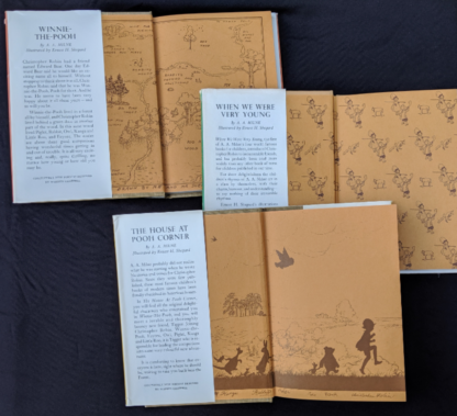 front pastedown and endpapers inside a Set of 3 Winnie-the-Pooh A. A. Milne books 1979 - 83