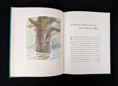 illustration of Piglet entirely surrounded by water in a 1965 copy of The Pooh Story Book stated 1st Canadian Edition