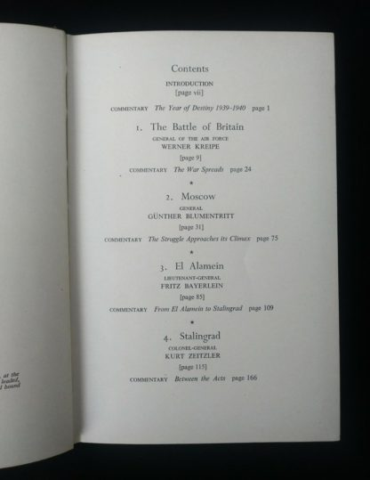 page 1 of 2 of the Contents page in a 1956 first edition copy of Six decisive battles of the Second World War from the viewpoint of the vanquished
