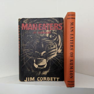 spine view of a 1946 First American Edition of MAN-EATERS of Kumaon by Jim Corbett