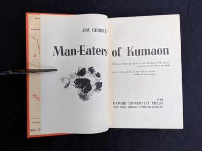 title page in a 1946 First American Edition of MAN-EATERS of Kumaon by Jim Corbett