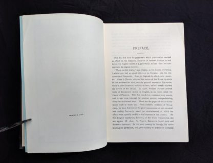 First page of the Preface in a copy of The Decameron of Boccaccio by Giovanni Boccaccio. Published by The Bibliophilist Society circa 1930s