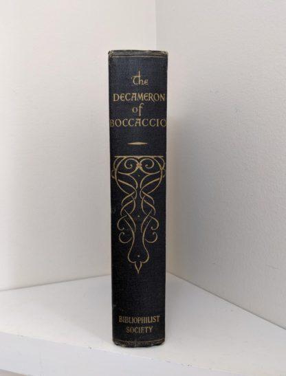 Spine view of The Decameron of Boccaccio by Giovanni Boccaccio. Published by The Bibliophilist Society circa 1930s