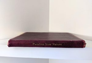 Spine view of a 1888 copy of Parables from Nature by Margaret Gatty -First and Second series in one volume