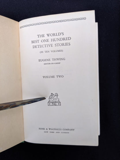 Title page of volume 2 inside a 1929 set of The Worlds Best 100 Detective Stories - In Ten Volumes - Full Set published by Funk & Wagnalls Company