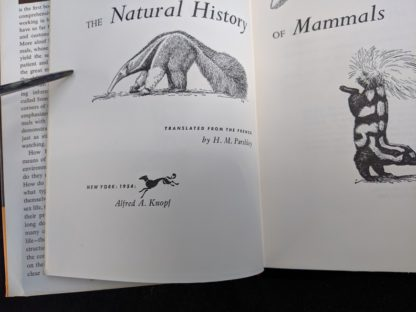 Title page up close in a 1954 First American Edition copy of The Natural History of Mammals by François Bourlière