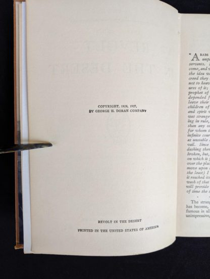 copyright page in a 1927 copy of Revolt in the Desert by T. E. Lawrence