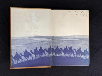 front pastedown and endpaper in a 1927 copy of Revolt in the Desert by T. E. Lawrence