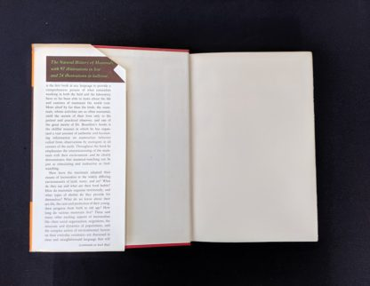 front pastedown and endpaper in a 1954 First American Edition copy of The Natural History of Mammals by François Bourlière
