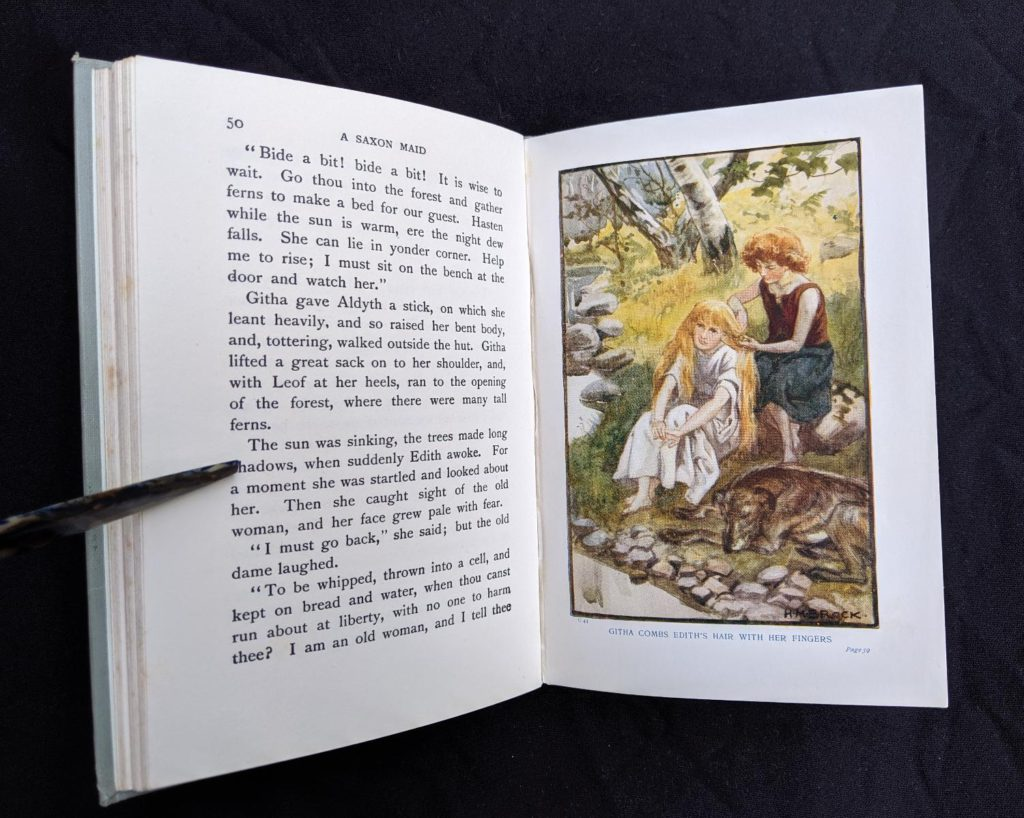 illustration of Githa and Edith inside a 1904 copy of A Saxon Maid by Eliza F. Pollard. Published by Blackie & Son Ltd. London