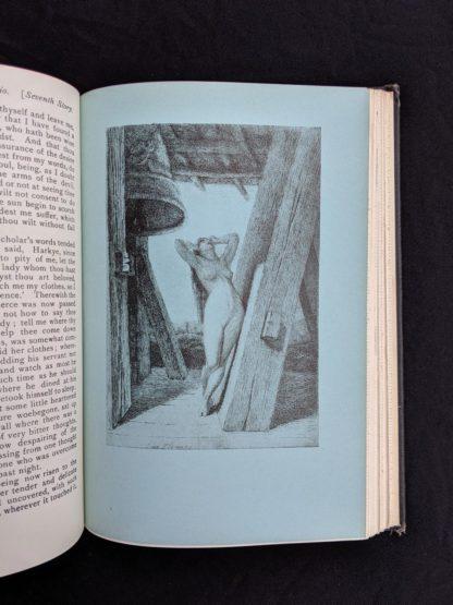 illustration plate inside a copy of The Decameron of Boccaccio by Giovanni Boccaccio. Published by The Bibliophilist Society circa 1930s