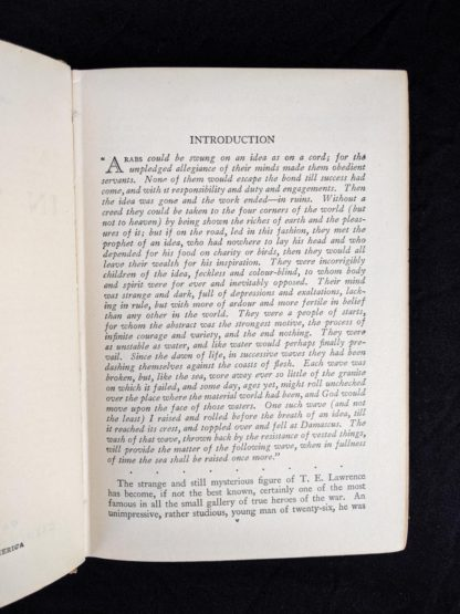 introduction page inside a 1927 copy of Revolt in the Desert by T. E. Lawrence
