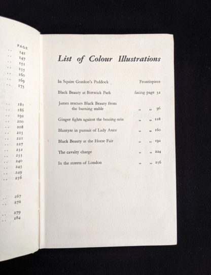 list of colour illustrations in a 1949 copy of Black Beauty by Anna Sewell - The Heirloom Library - first printing