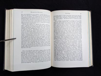 page 56 and 57 in a copy of The Decameron of Boccaccio by Giovanni Boccaccio. Published by The Bibliophilist Society circa 1930s