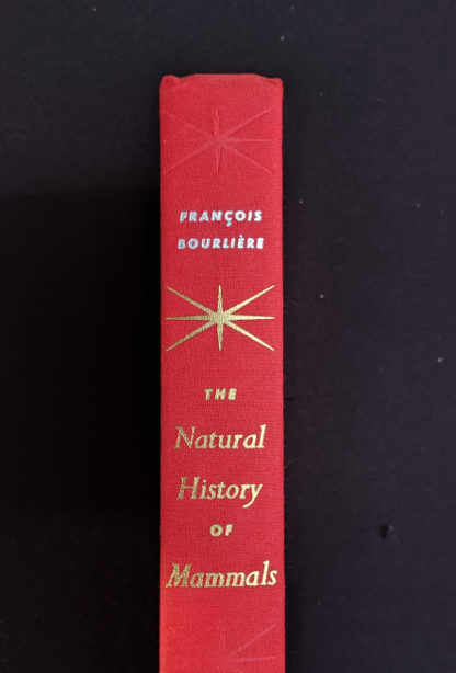spine view on a 1954 First American Edition copy of The Natural History of Mammals by François Bourlière