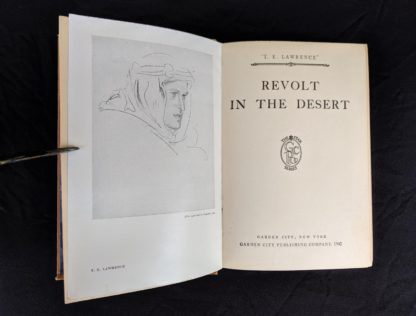 title page in a 1927 copy of Revolt in the Desert by T. E. Lawrence