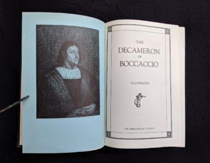 title page in a copy of The Decameron of Boccaccio by Giovanni Boccaccio. Published by The Bibliophilist Society circa 1930s
