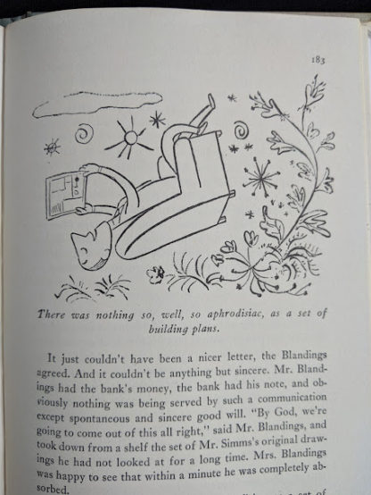 1946 first edition copy of Mr. Blandings Builds His Dream House by Eric Hodgins - illustration on page 183
