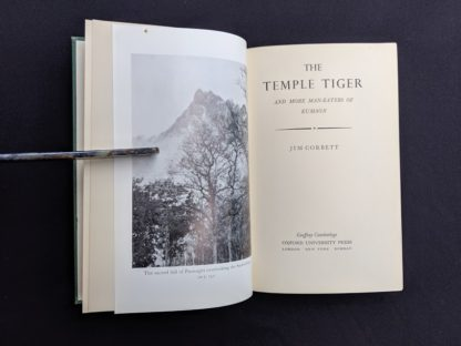 Title page in a 1954 copy of The Temple Tiger and More Man-Eaters of Kumaon by Jim Corbett - second impression