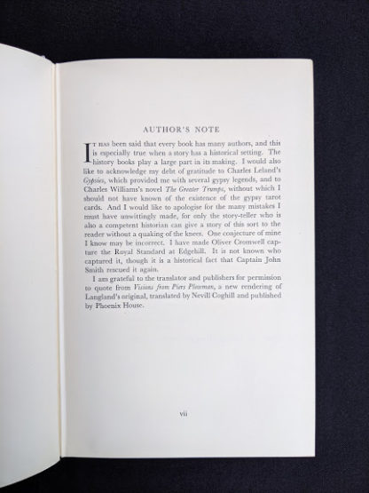 authors note in a First Edition copy of The White Witch 1958 by Elizabeth Goudge published in London by Hodder & Stoughton