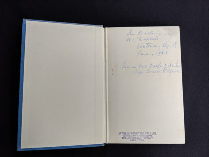 inscription from a previous owner on front endpaper inside a First Edition copy of The White Witch 1958 by Elizabeth Goudge published in London by Hodder & Stoughton