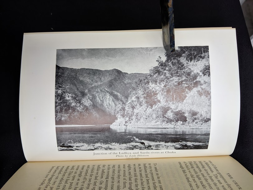 photograph of the junction of the Ladhya and Sarda rivers at Chuka in a 1954 copy of The Temple Tiger and More Man-Eaters of Kumaon by Jim Corbett - second impression