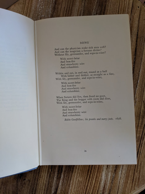 song inside a First Edition copy of The White Witch 1958 by Elizabeth Goudge published in London by Hodder & Stoughton
