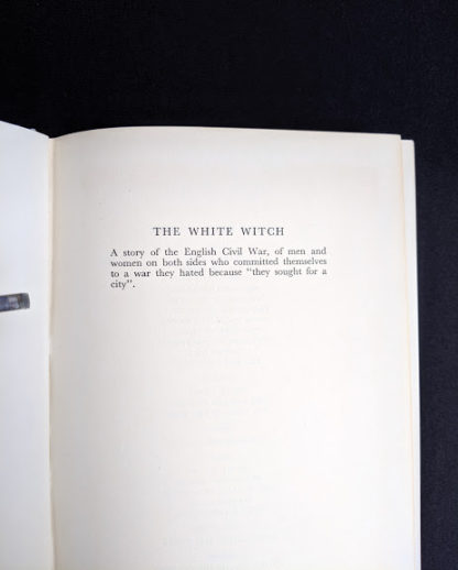 synopsis of book inside a First Edition copy of The White Witch 1958 by Elizabeth Goudge published in London by Hodder & Stoughton