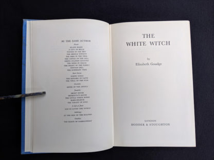 title page in a First Edition copy of The White Witch 1958 by Elizabeth Goudge published in London by Hodder & Stoughton