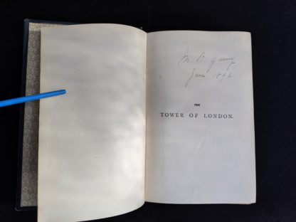 annotation on pre title page inside a 1880s copy of The Tower of London by Ainsworth