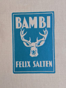 blindstamp on the front cover of a 1929 copy of Bambi by Felix Salten published by Grosset & Dunlap