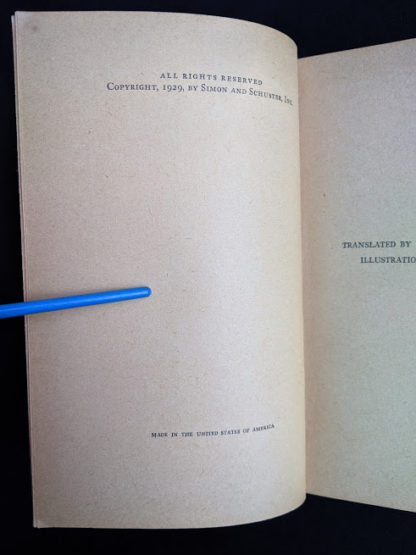 copyright page in a 1929 copy of Bambi by Felix Salten published by Grosset & Dunlap by arrangement with Simon and Schuster