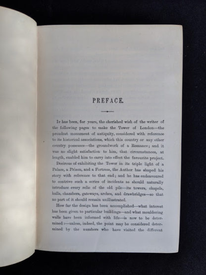 first page of the preface in a 1880s copy of The Tower of London by Ainsworth